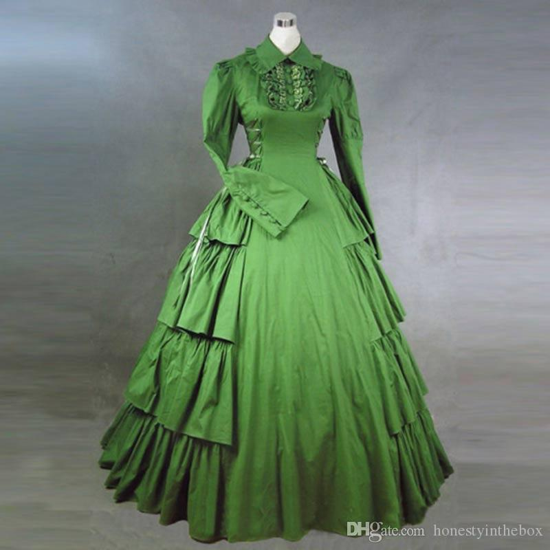 7f5a45903837 European Court Green Gothic Victorian Historical Party Dress Long Sleeve Lace  Ruffles Masquerade Ball Gowns Costumes Blue Party Dress Plus Size Party  Dress ...