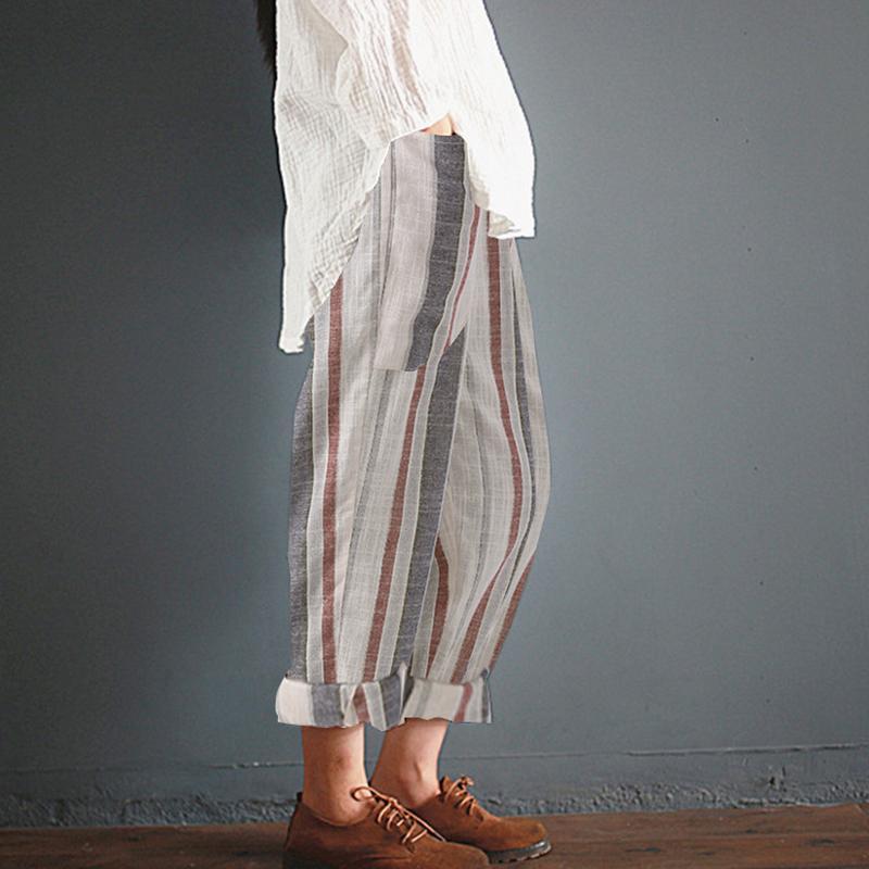S-5XL Frauen Sommer Streifen Hohe Taille Pluderhosen Plus Größe Baumwolle Femme Retro Beiläufige Lose Baggy Lange Hosen Beiläufige Dünne Hosen