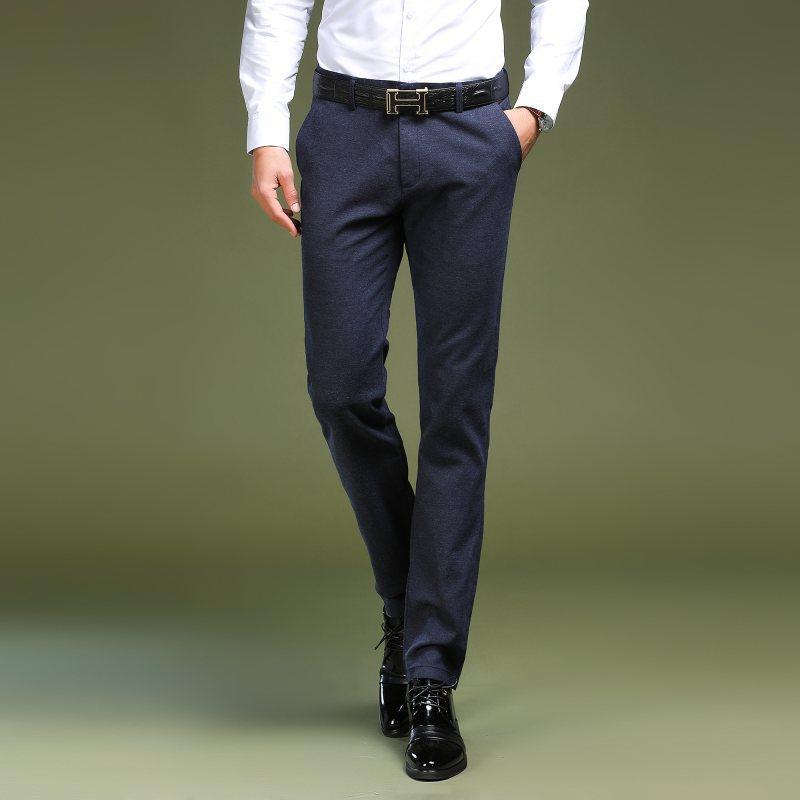 Compre Pantalones De Vestir Para Hombre 2018 Pantalones De Hombre Formal  Oficina Hombre De Alto Grado De Negocios Pantalones De Traje Recto Color  Puro ... 05f8a037962e