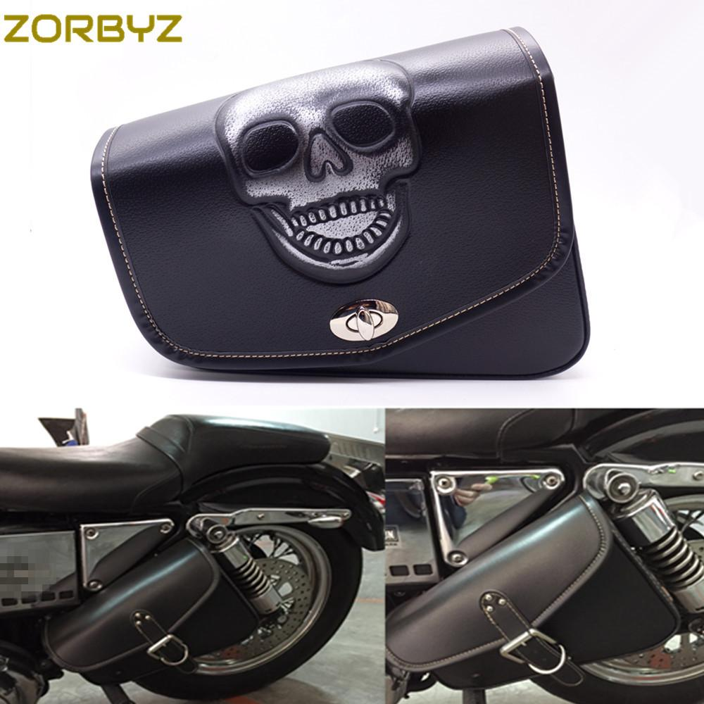 ZORBYZ Black Motorcycle Skull PU Leather Saddlebag Saddle Bag Luggage For Harley Sportster XL 883 Bags Saddlebags Online