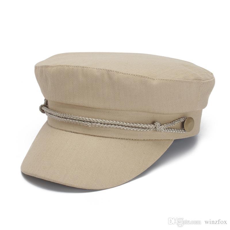 53d0e6a8a1dad Compre Herringbone Algodão Jornaleiro Chapéus Moda Militar Melton De Lã  Gatsby Chapéu Inverno Mulheres Chapéus Senhora Moda British Caps Lã Ivy De  Winzfox