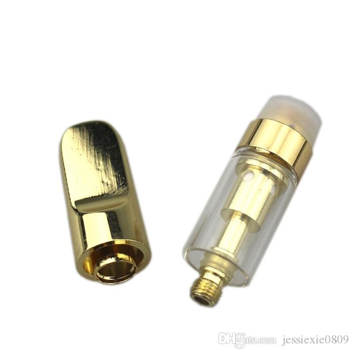 2018 Hot 510 Cre-C Ceramic Coil Tank Cartridge Golden Drip Tip Gold Mouthpiece Pyrex Glass Atomizer tank E cigarettes