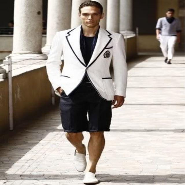 more photos 88b71 0b32b Vestiti estivi Pantaloni corti bianchi Abito blazer uomo nero Pantaloni  casual Terno Masculino (giacca pantaloni)