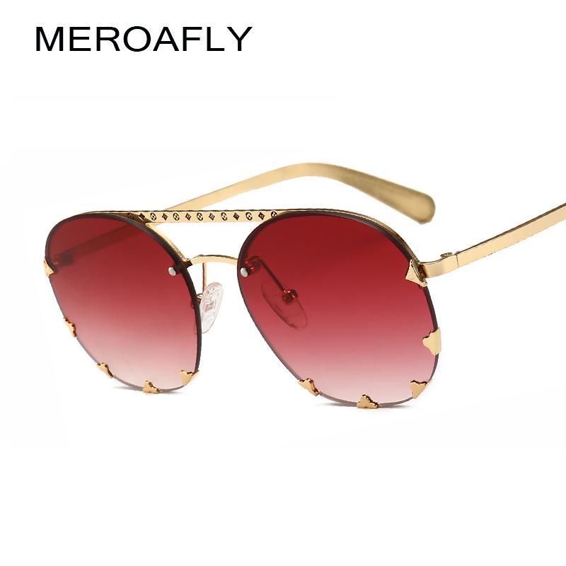 ab9e997666 MEROAFLY New Metal Rivets Oval Sunglasses Women Men 2019 Vintage Pilot Sun  Glasses For Ladies UV400 Brand Eyeglasses Gafas Prescription Sunglasses  Glasses ...