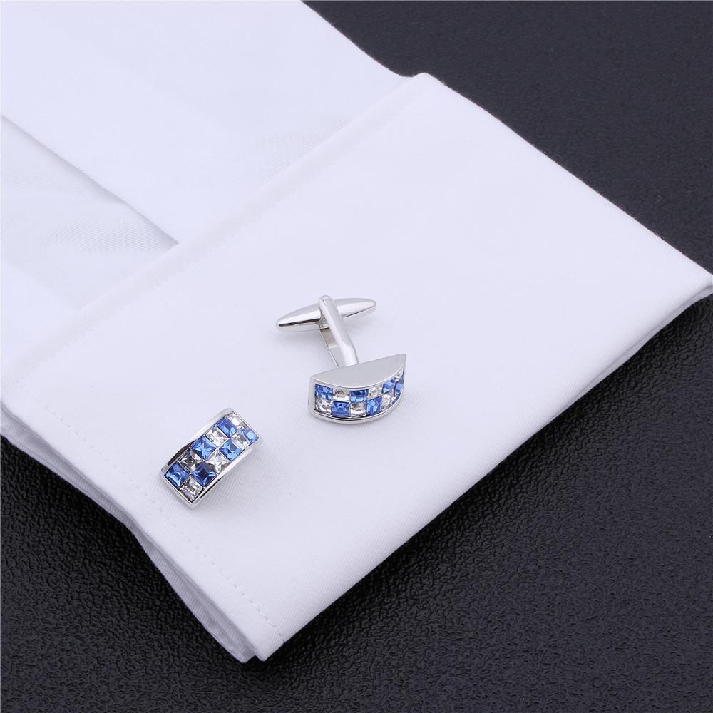 Gemelli in cristallo colorato Hawson camicia da uomo bianca abito da sposa con scatola