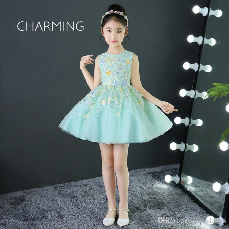 Plus Size Flower Girl Dress Green High Quality Embroidered Fabric