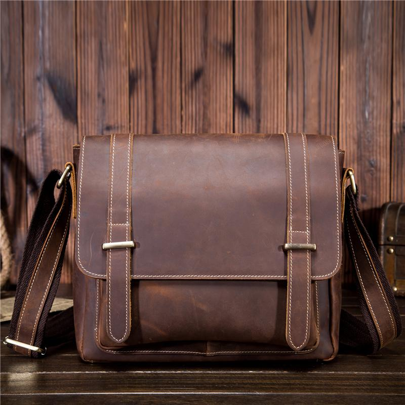 bdf8b45c9db Vintage Crazy Horse Leather Men'S Travel Corssbody Bags Genuine Leather  Shoulder Messenger Bags For Men Vintage Satchel SDM1115 Leather Backpack  Purse ...