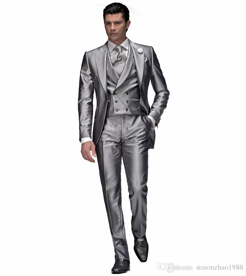 Men Suits 2018 Double Breast Vest Shiny Light Grey Groom Suit Tailcoat Peaked Lapel One Button Best Man Suits For Wedding Groomsmen Tuxedos