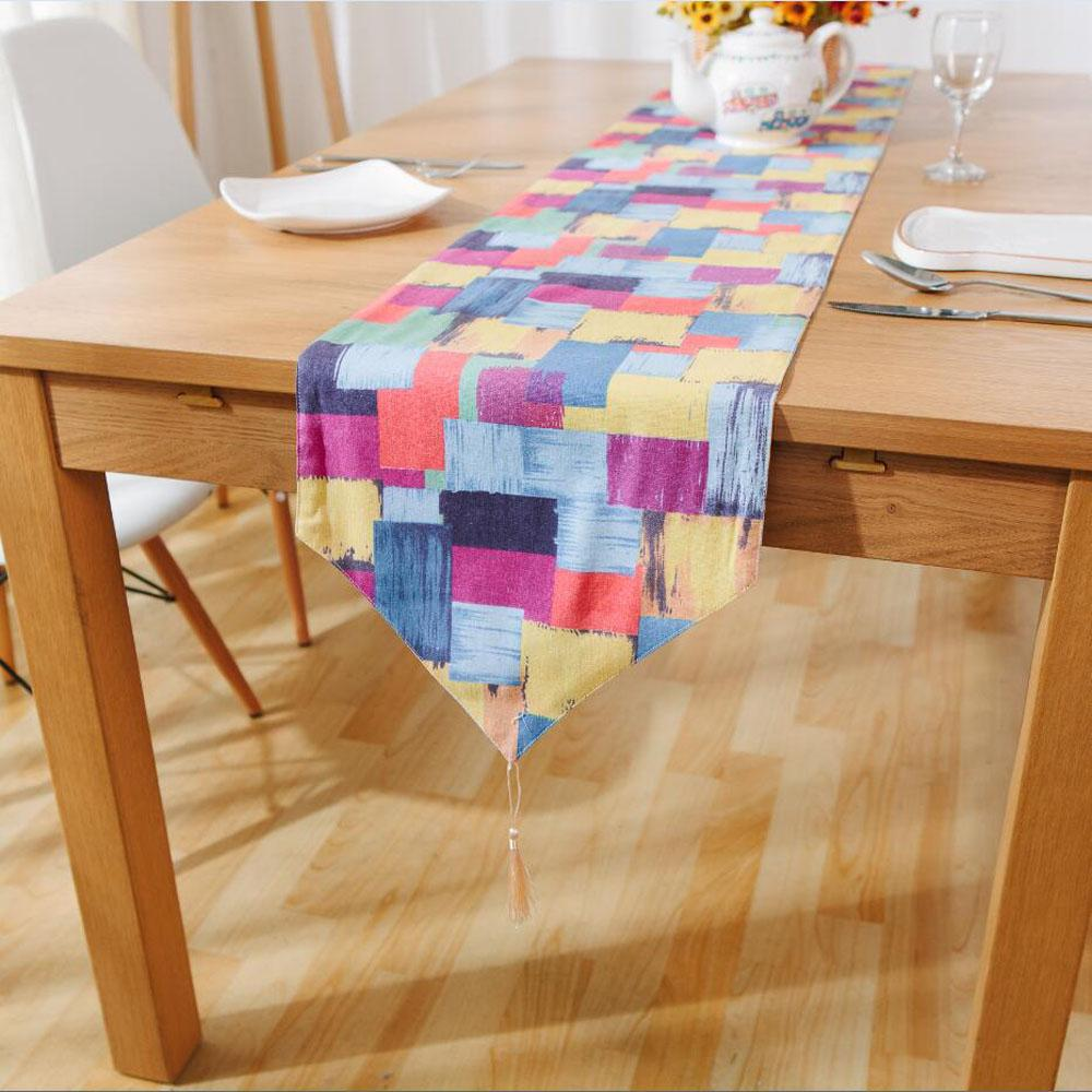 Hot Sale Colorful Box Linen Table Runners With Tassel Modern Graffiti  Printed Rectangle Table Runners For Home Decoration Tablecloth Overlays  Tablecloth ...