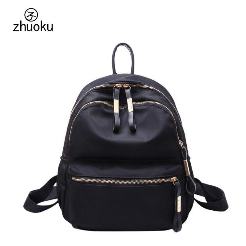 c8f178e8ec School Bags For Teenage Girls School Backpack Double Zipper Women Black  Nylon Backpack Good Quality Sac A Dos Femme Rugzak Z402 Backpacks For Men  Jansport ...