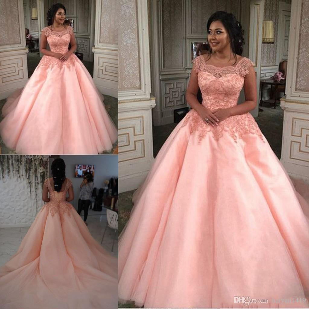 ec73a6476 2019 New Ball Gown Quinceanera Dresses Peach Boat Neck Lace Appliques Sweet  16 Chapel Train Corset Plus Size Party Prom Dress Evening Gowns Peaches ...