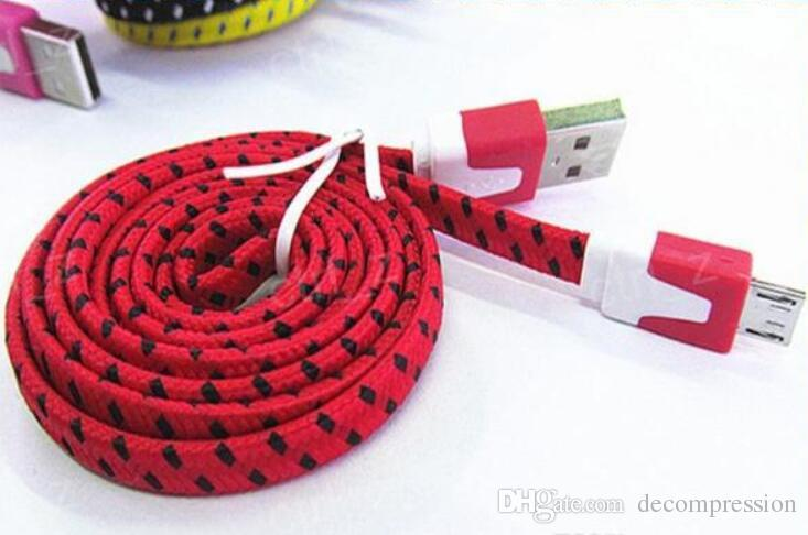 10FT 6ft 3FT Noodle Flat Braid Ladekabel Sync Fabric TYPE-C Micro Wire USB Datenkabel Linie Samsung S8 S7 HUAWEI