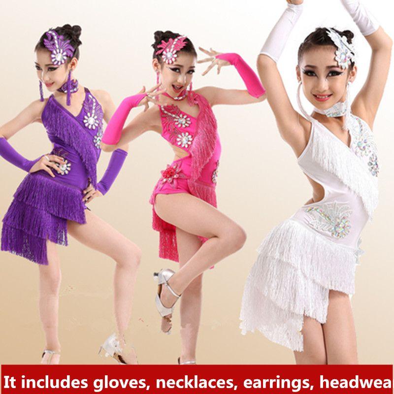 f4cb6b2dae1d 2019 New Children Kids Girl Latin Dance Dress Sexy Halter Sequin Tassel  Chacha Tango Ballroom Costumes Practice Dance Dress Green/Rose/White/Blue  From ...
