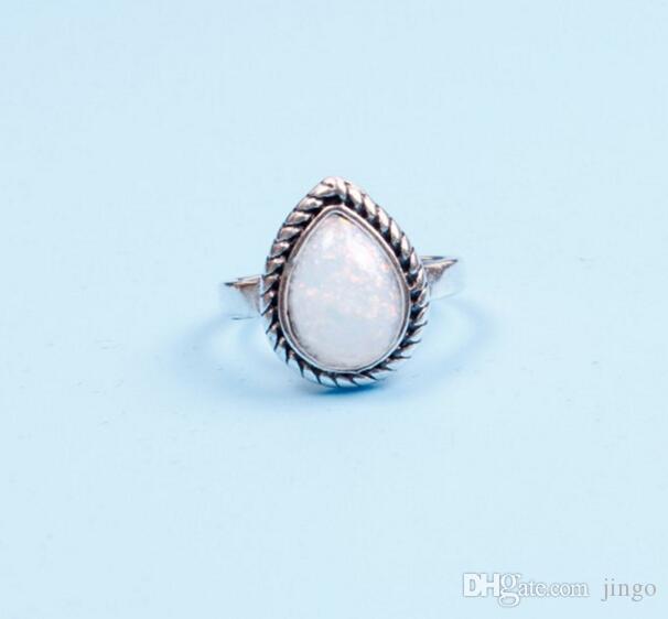 / set joyería Anillos de Plata piedra preciosa natural de la boda del anillo de compromiso Favor retro Partido Simples anillos nt