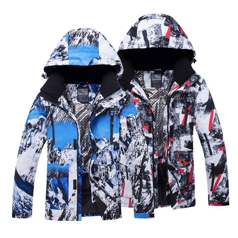 Купить Оптом Мужские Лыжные Куртки Напечатаны Водонепроницаемый  Ветрозащитный Мужской Лыжи Сноуборд Куртки Зимние Открытый Спорт Мужская  Кемпинг Пешие ... cbe5e612ff4