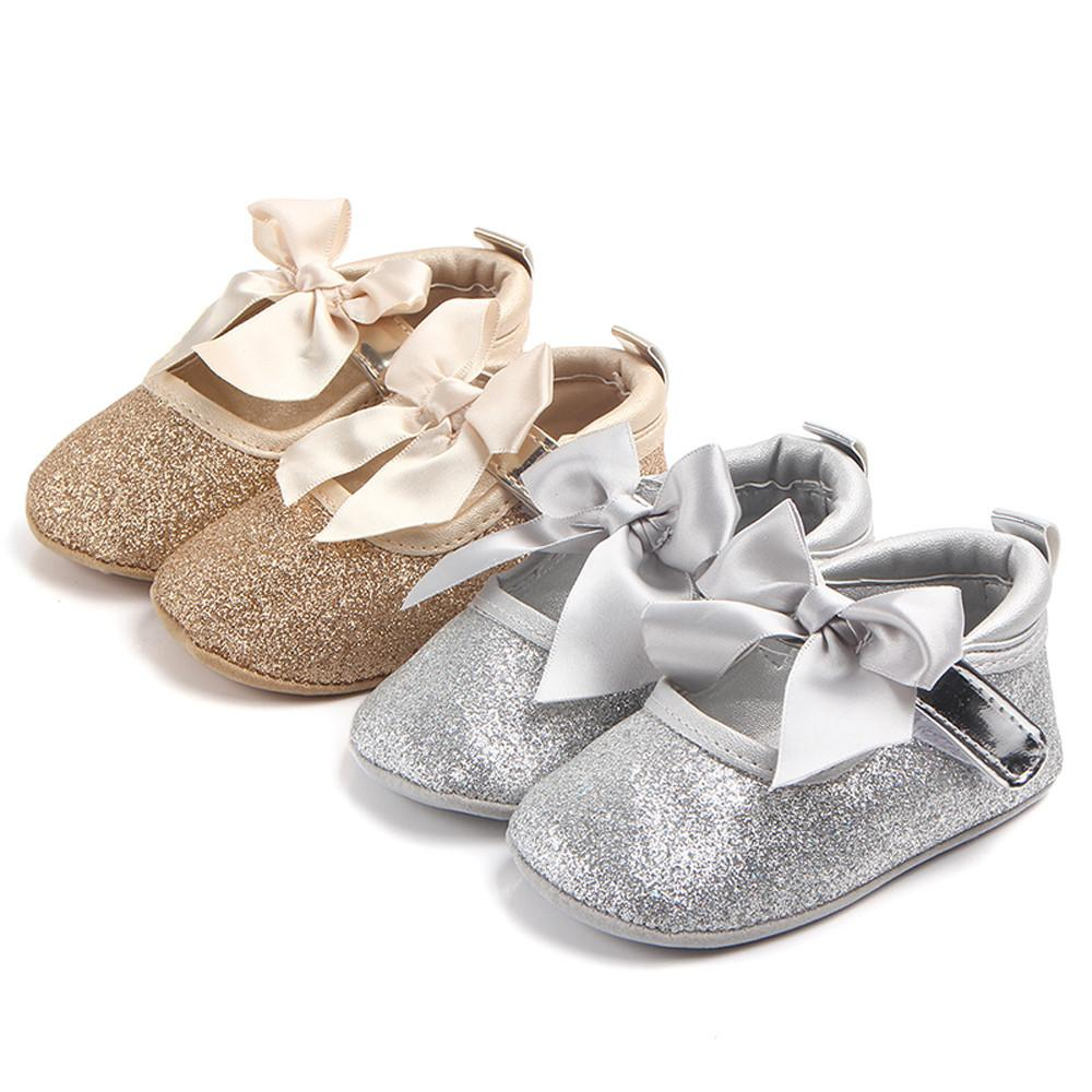 97594b466d91 2019 Fashion Bling PU Leather Baby Girl Shoes + Ribbon Elastic Headband Baby  Set Cute Newborn First Walker Gift Soft Sole Shoe T  From Humom
