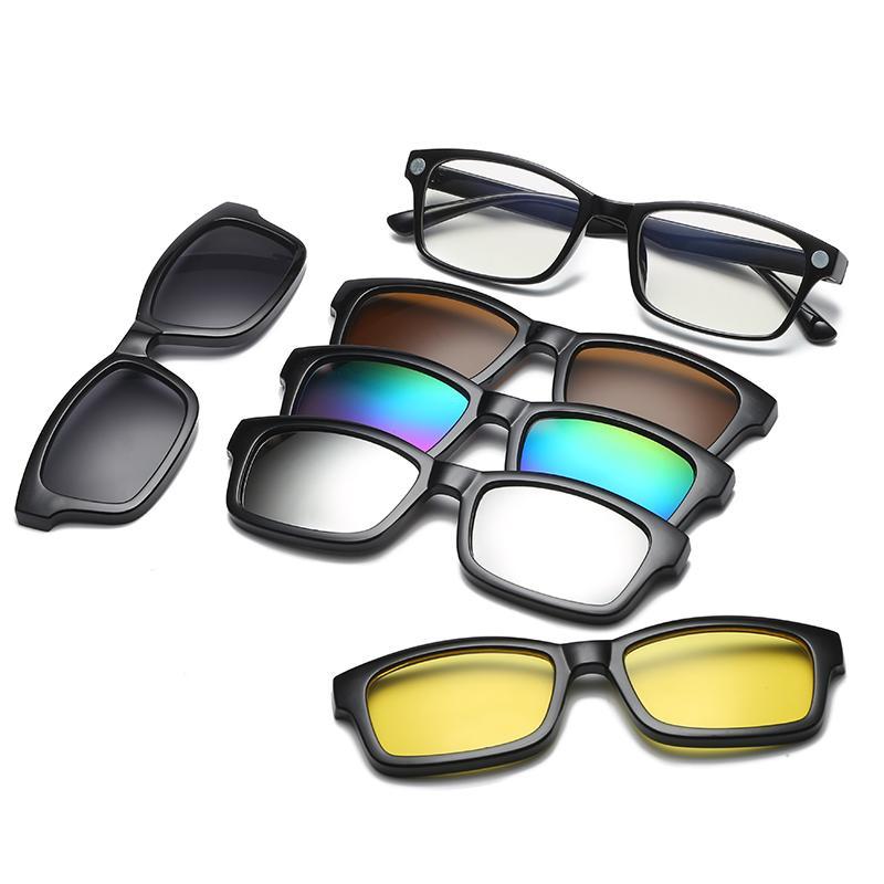 04fad5de39 Compre 5 Lentes Clip En Gafas De Sol Clip En Lentes Cuadrados Lente Hombres  Mujeres Espejo Gafas De Sol Visión Nocturna Gafas De Sol De Conducción Para  ...