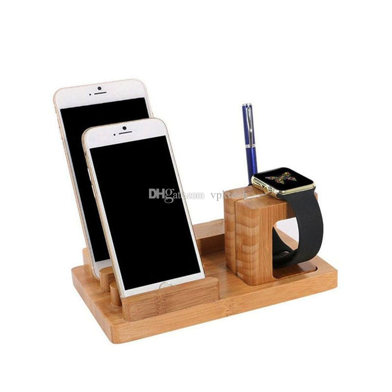 Avec Ports USB Naturel Bamboo téléphone portable monte montre détenteurs Plate-forme pour Apple Samsung Huawei Xiaomi téléphones portables Smart Phone