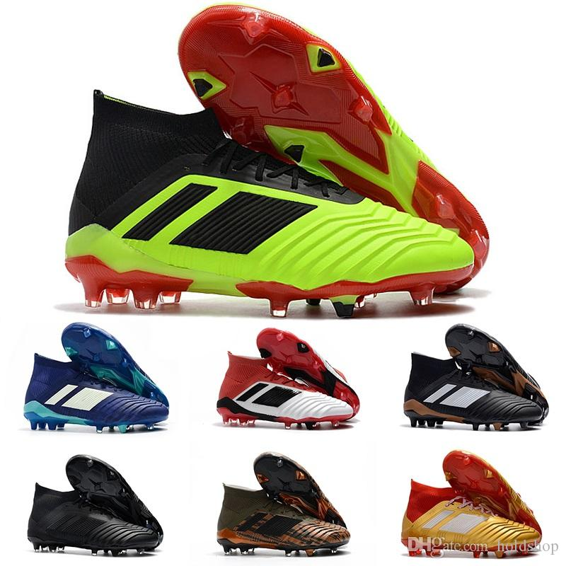 ae78eaaf63 Compre Top Quality Original Predator 18.1 Mens FG Botas De Futebol Para  Homens Techfit Laceless Alta Tornozelo Chuteiras Sapatos De Futebol  Designer De ...