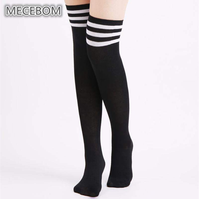 4c3d5b6f1dce6 2019 2018 Women Thigh Socks Fashion Black White Striped Knee High Socks  Female Over The Knee Cotton Stocking Sexy Girls B6003 From Harrietai