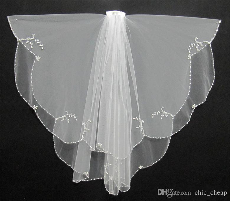 Marfim branco 2018 Curto Duas Camadas Com Pente Nupcial Véus Acessórios Do Casamento Frete Grátis Borda Frisada Cristal Moda