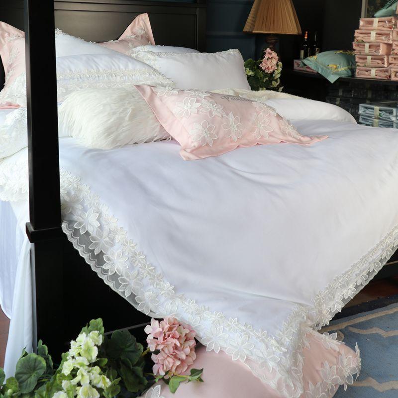 Grosshandel Rosa Weiss Tencel Seide Spitze Rand Luxus Prinzessin