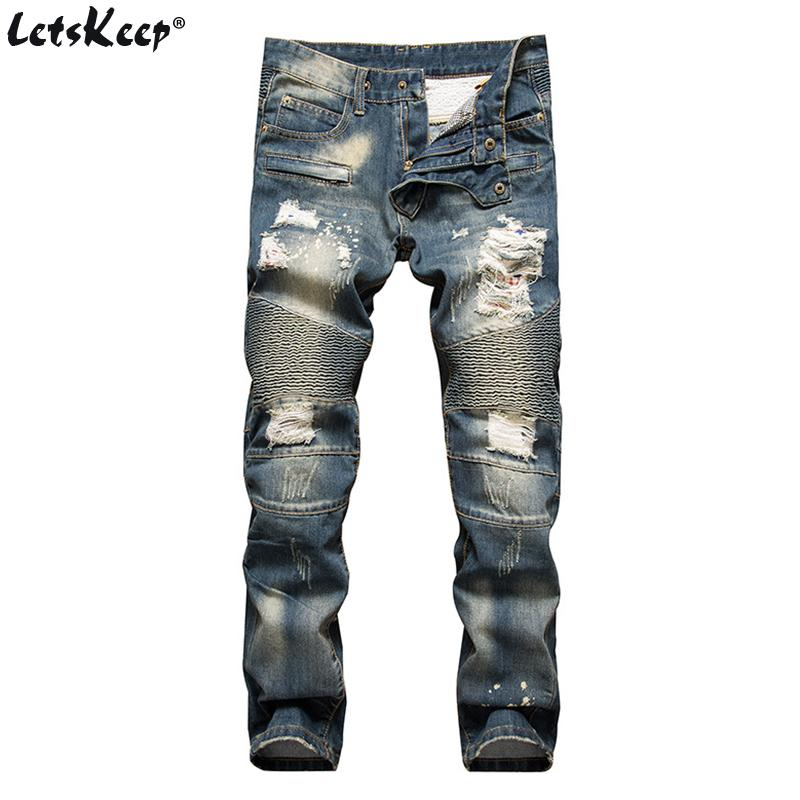 03b5e3931868 2019 2017 LetsKeep Mens Ripped Biker Jeans Men Print Striped Skinny  Motorcycle Jeans Knee Hole Destroyed Boots Slim Fit ,MA396 From Edmund02,  ...