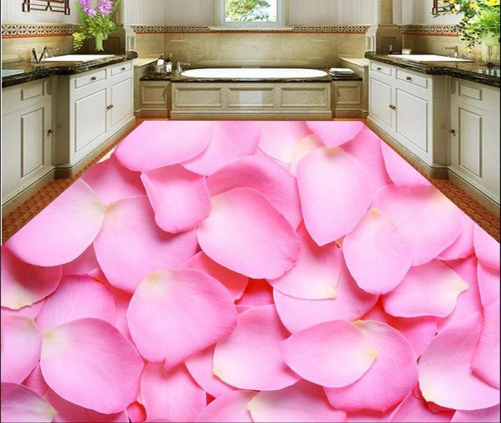 papel de parede piso de vinil PVC Rose piso 3d pétala para sala e quarto