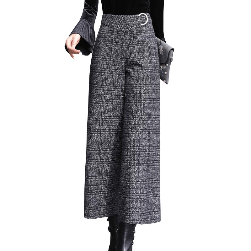 2019 Autumn Winter Women Black White Plaid Wide Leg Pants Thick Zipper Fly  Office Lady Work Wear Straight Pants Trousers 2358LY From Cashmere52 75c2723036a7