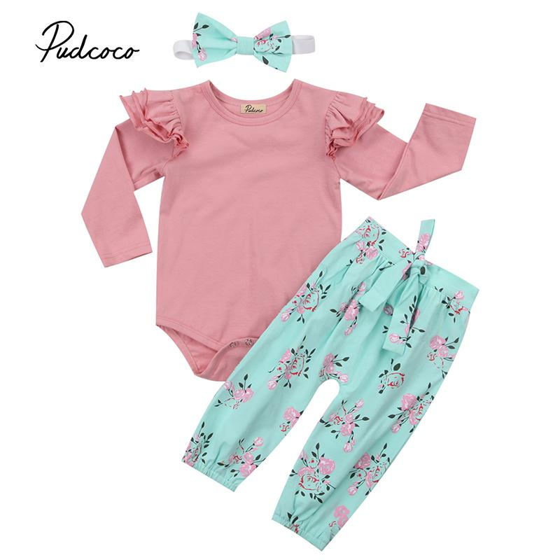 d2cd8b4c356d4 Cute Newborn Infant Baby Girl Clothes Ruffles Long Sleeve Pink Romper Tops  Floral Pant Bow Headband 3PCS Outfit Kid Clothing Set