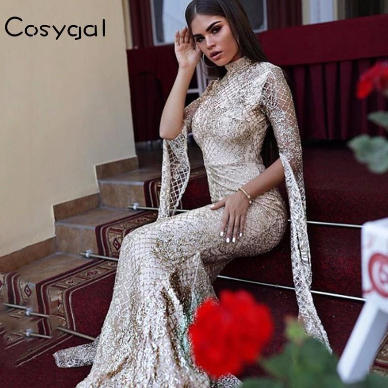 COSYGAL Evening Party Dress Women Long Sleeve Bling Sequined Dresses Female Long Maxi Solid Vintage Elegant Sexy Vestidos