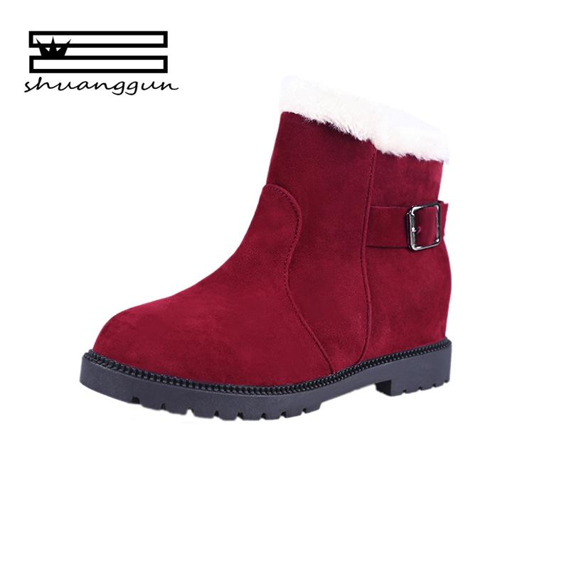 SHUANGGUN 2018 Classic Heels Suede Women Winter Boots Warm Fur Plush Insole  Ankle Boots Women Shoes Hot Lace Up Shoes Woman Black Combat Boots Chelsea  Boots ... 16843124f50c