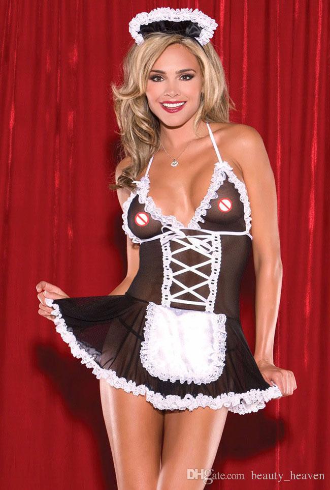 Donne sexy abito francese uniforme domestica pizzo lingerie sexy caldo cappello erotico + costumi + perizoma costumi porno babydoll biancheria intima sexy