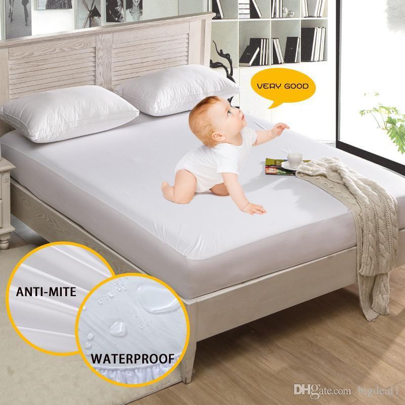 acheter 160x200 cm anti acariens lit matelas protection pad lisse tanche matelas protecteur couverture pour lit humide respirant hypoallergnique de 717 - Acariens Lit