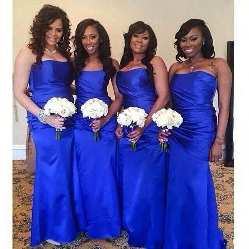 2018 Cheap Royal Blue Long Sheath Bridesmaid Dresses Strapless Sleeveless  Satin Wedding Guest Dress Plus Size Formal Maid Of Honor Gowns Cheap  Bridesmaid ... a3e0f46398a4