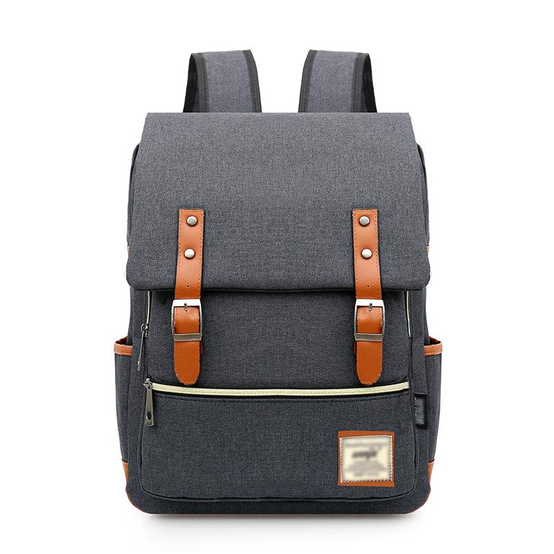Fashion Classic School Bag Pure Color Travel Backpack Oxford Men And ... 65607b25564d1