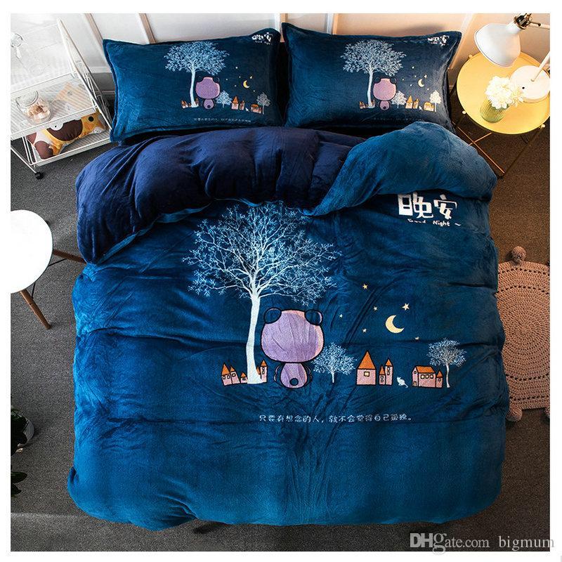 4шт наборы постельных принадлежностей фланель зима утолщение плюшевые пододеяльник животных кровать комплект покрывала простыня наволочки мягкие и теплые