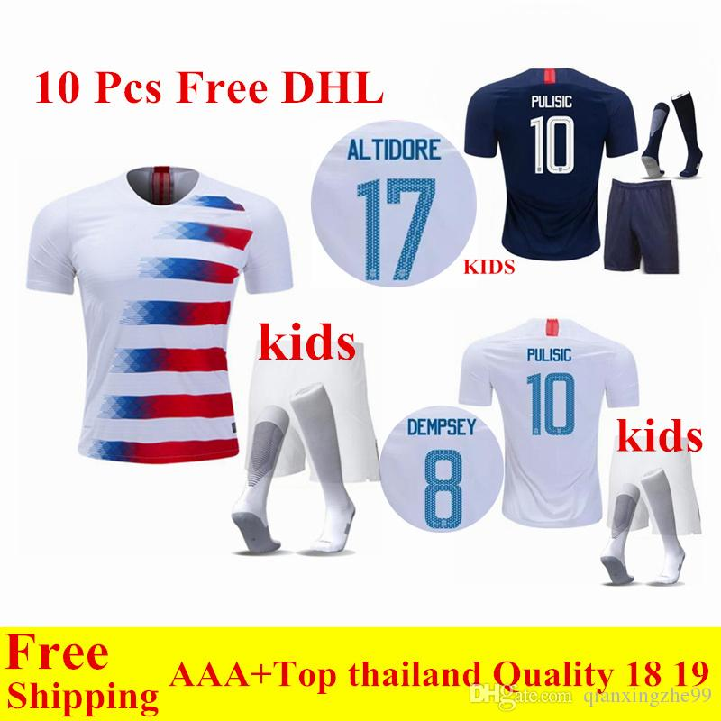 Wholesale Free DHL Thai Quality 2018 2019 USA Kids Kit PULISIC Soccer  Jerseys 18 19 DEMPSEY ALTIDORE America Child Football Shirts UK 2019 From  ... 0a24db470