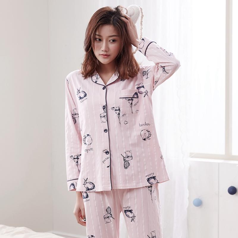 7c528715fd 2019 2018 Autumn Winter 100% Cotton Casual Striped Pajama Sets For Women  Long Sleeve Cartoon Pyjama Homewear Loungewear Home Clothing From Aldrichy