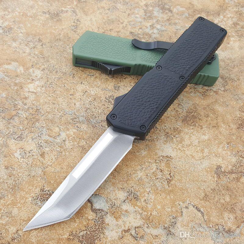 제이슨의 최신 번개 자동 나이프 다양한 스타일 tanto / drop 블레이드 안티 슬립 알루미늄 작은 자기 방어 전술 칼을 처리