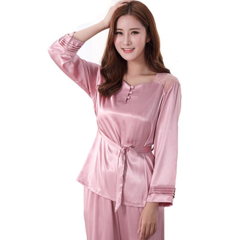 44f1a08abf 2019 Ladies Sexy Faux Silk Pajamas Set 2018 Spring O Neck Shirt+Pants Home  Wear Plus Size 3XL Sleepwear Long Sleeve Nightwear From Industrial