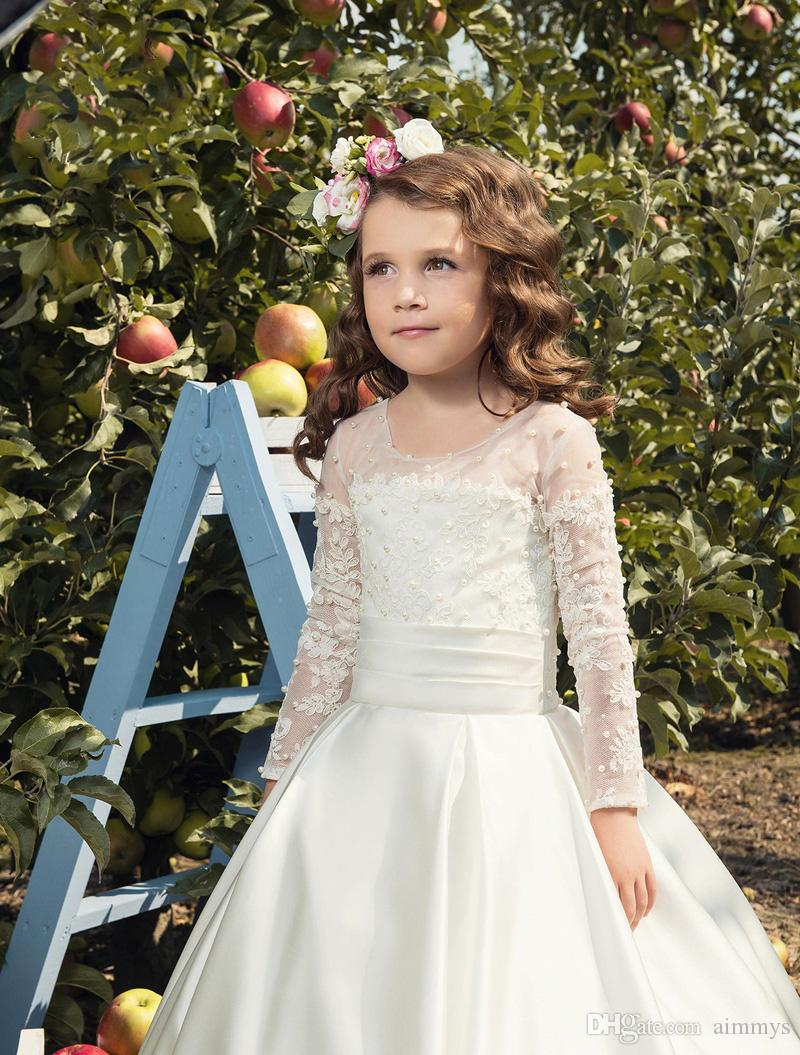 Cheap White Satin Pearl Flower Girl Dress Long Sleeves Pageant Gowns