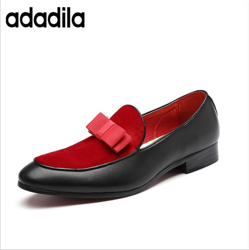 2018 Gentlemen Bowknot Wedding Dress Male Flats Casual Slip On Shoes Black  Patent Leather Red Suede Loafers Men Formal Shoes Designer Shoes High Heel  Shoes ... 7ec93e64988d