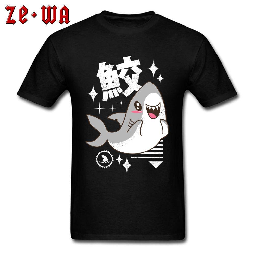 7b7518bbc Kawaii Shark T Shirt Men Funny Clothes Japan Kanji Print T Shirt Street  Style Cute Tops Cotton Tee Summer Black Tshirt New Womens Shirt T Shart  From ...
