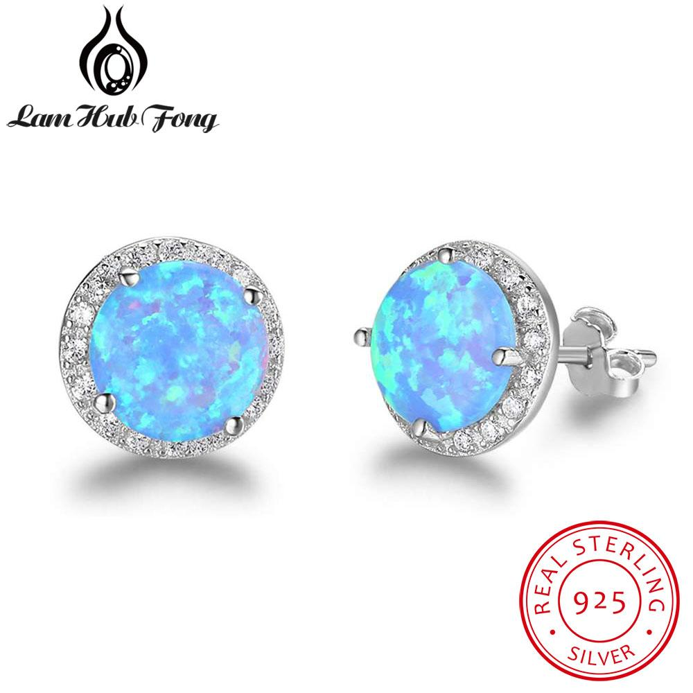 ee674c145 2019 Elegant Round Blue Fire Opal Stud Earrings Real 925 Sterling Silver  Cubic Zirconia Jewelry Best Gift For Women Lam Hub Fong From Geworth, ...