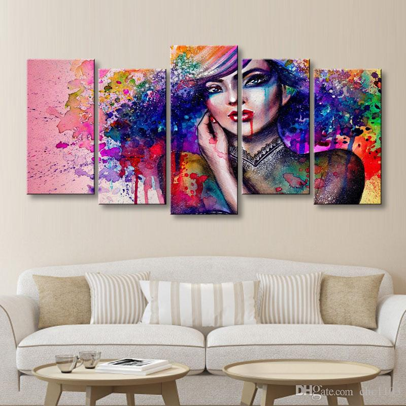 high-definition print artwork Colorful womens canvas oil painting poster and wall art living room picture SCM-001