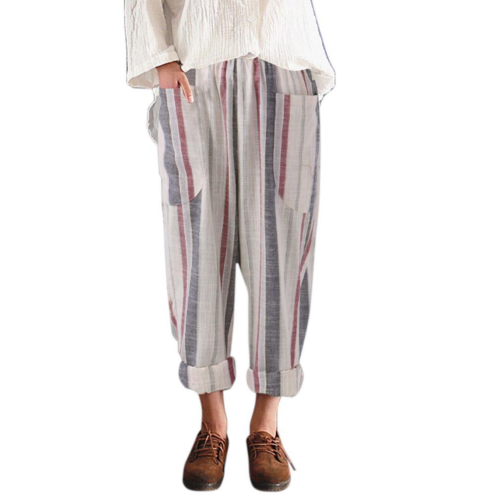 c6887bc6b Compre Plus Size Harem Pants Linho Listrado Calças Soltas Tamanho Grande Calças  Do Vintage Das Mulheres Streetwear Estilo Coreano Pockets De Cailey, ...