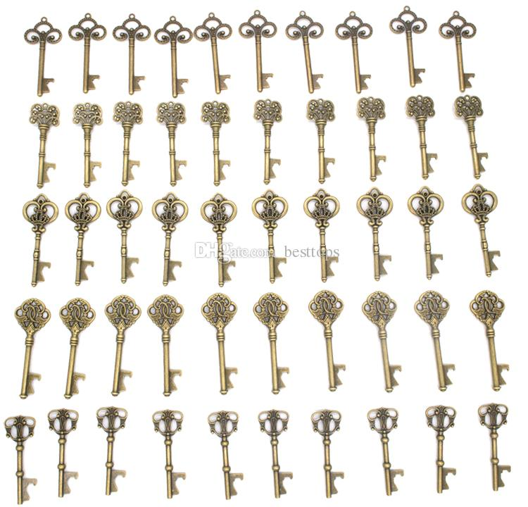 Mixed 9 Styles Antique Bronze Metal Skeleton Key Shaped Bottle Opener Rustic Wedding Decor Party Favor