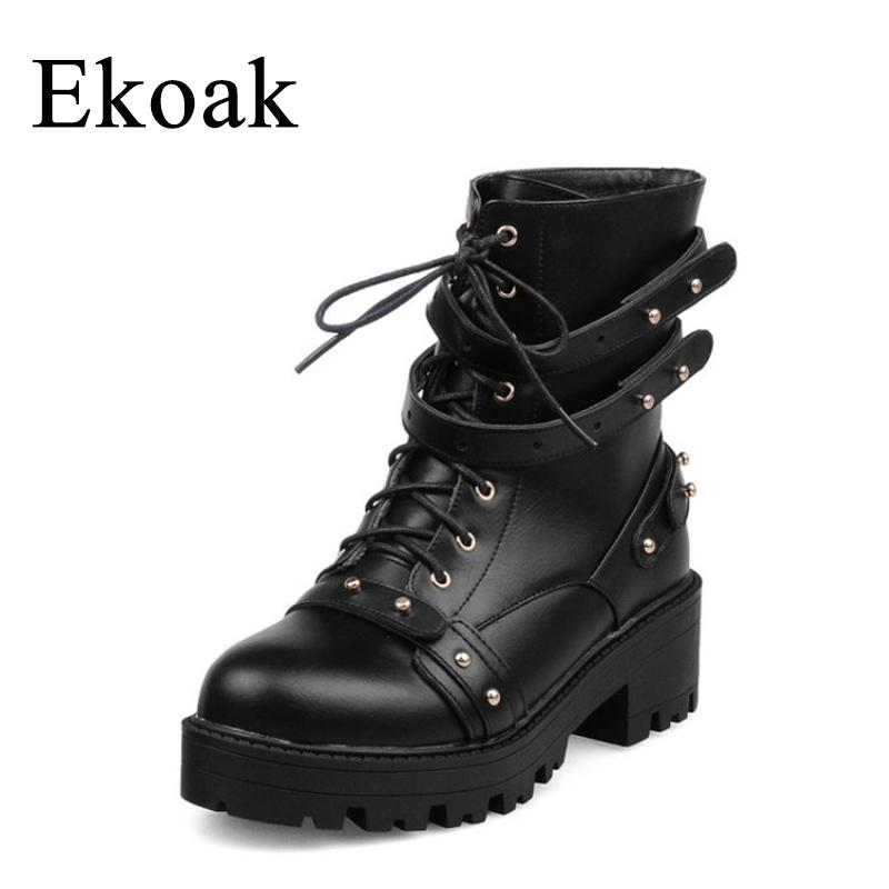 d613716b3c0 Ekoak Sexy Rivets Mid Heels Motorcycle Boots Lace-Up Autumn Leather Heavy  Metal Platform Ankle Boots for Women Shoes Woman