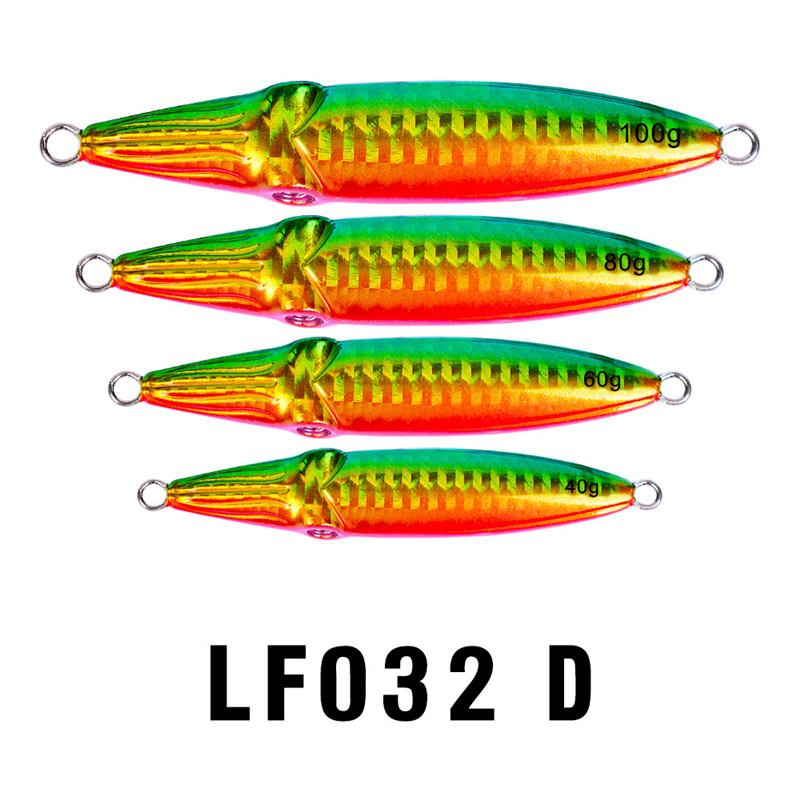 Double-sided Rainbow Colors Laser Metal Jigs bait 40g 60g 80g 100g Antirust Lead Fish Spinnerbaits Saltwater Fishing lure